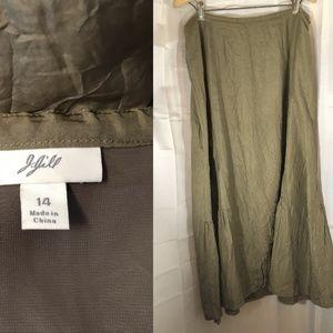 J. JILL  14 Green Crinkled Silk A-Line Godet Skirt